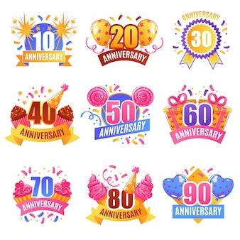 Conjunto festivo de números de aniversario