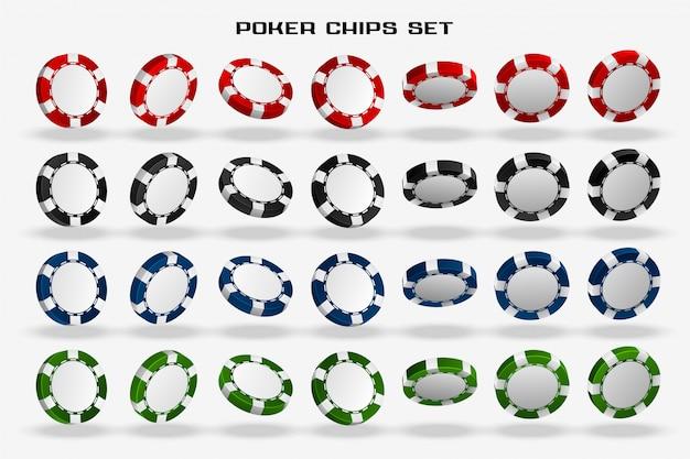 Conjunto de fichas de póker de casino 3d