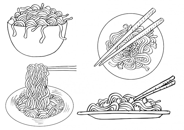 Conjunto de fideos doodle