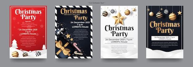 Conjunto de fiesta de feliz navidad y feliz año nuevo para flyer, banner, redes sociales, etc.
