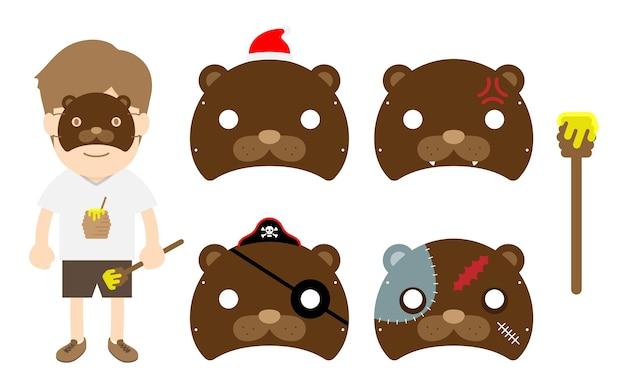 Conjunto de fiesta de lujo de oso animal máscara de oso de dibujos animados