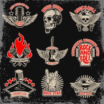 Conjunto de fiesta musical, emblemas de rock. elemento de logotipo, etiqueta, emblema, signo. imagen