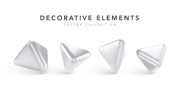 Conjunto de figura geométrica realista aislado en blanco