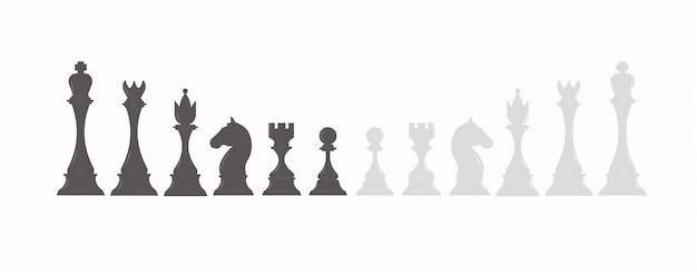 Conjunto de figuras de ajedrez en color blanco y negro. colección de piezas de ajedrez: rey, reina, torre, alfil, peón y caballero.