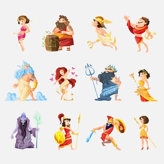 Conjunto de figuras de dibujos animados de dioses griegos antiguos con dioniso zeus poseidón aphrodite apollo athena