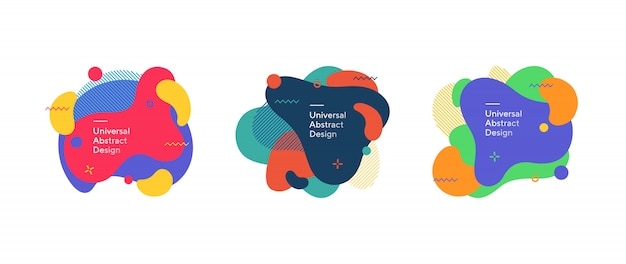 Conjunto de figuras fluidas coloridas abstractas