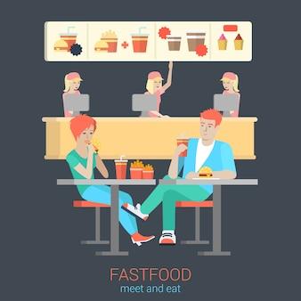 Conjunto de figuras de pareja elegante sonriente feliz flirt boy girl sentado mesa de comida rápida comiendo hamburguesas papas fritas. concepto de tiempo de comida de restaurante de comida rápida de situación de estilo de vida de personas planas