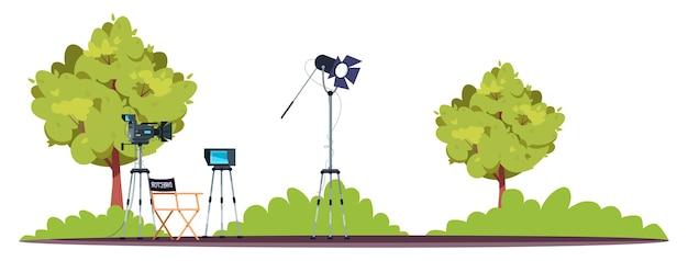 Conjunto de filmación ilustración en color rgb semi plano
