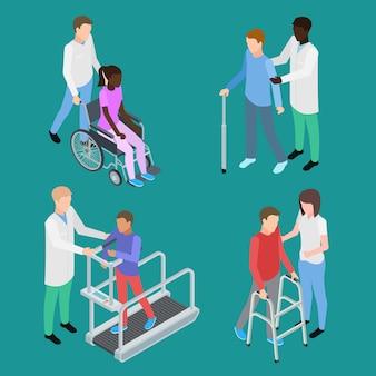 Conjunto de fisioterapia y rehabilitación médica para adolescentes y adultos