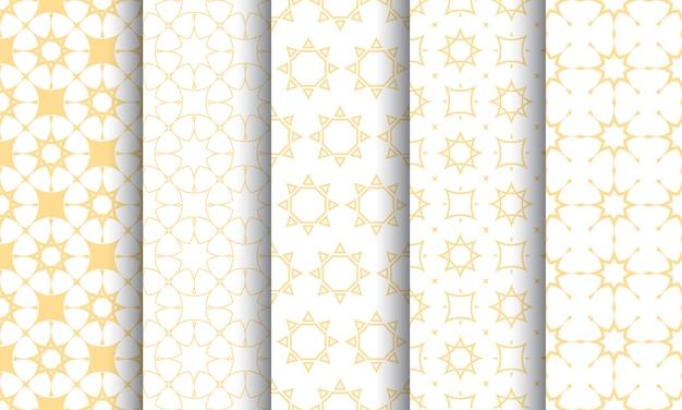 Conjunto sin fisuras patrón islámico, textura blanca y dorada.