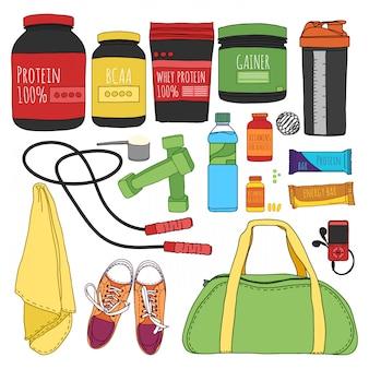 Conjunto de fitness y dieta. conjunto de nutrición deportiva. bolsas para entrenamiento, entrenadores, pesas y suplementos para deportistas. cosas para el gimnasio.