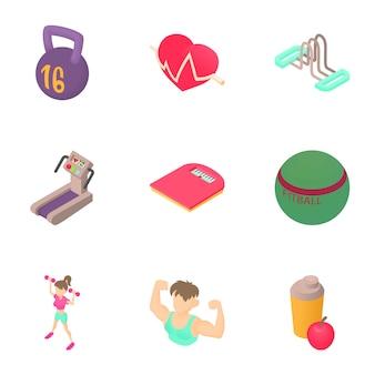 Conjunto de fitness, estilo de dibujos animados