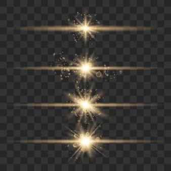 Conjunto de flashes, luces y chispas. brillo dorado.