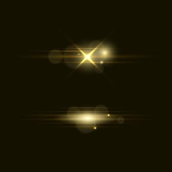 Conjunto de flashes, luces y chispas. resumen luces doradas aisladas sobre un fondo transparente. brillantes destellos dorados y resplandores