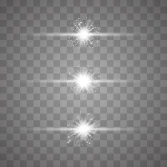 Conjunto de flashes, luces y chispas.