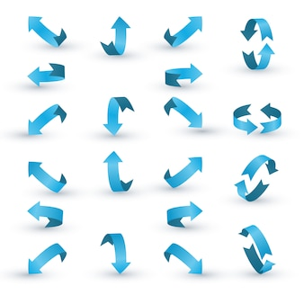 Conjunto de flecha de cinta azul.