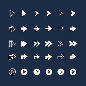 Conjunto de flecha derecha de diseño plano