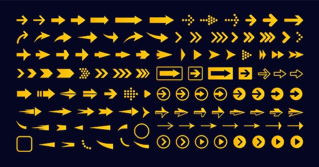 Conjunto de flecha derecha geométrica icono de vector icono de puntero siguiente signo botón de avance infografía simple