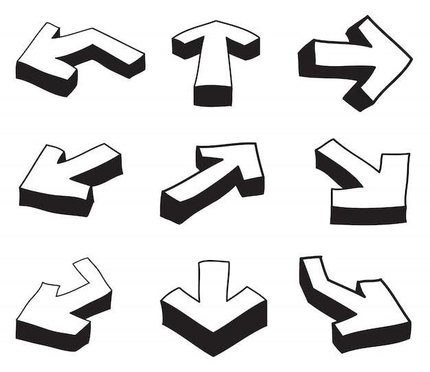 Conjunto de flechas 3d