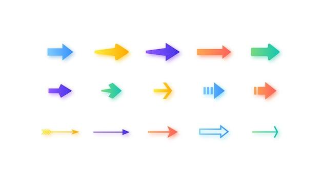 Conjunto de flechas aislado en blanco