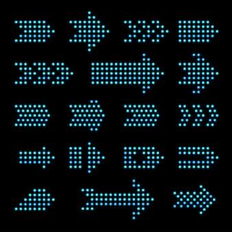 Conjunto de flechas de bombilla en negro