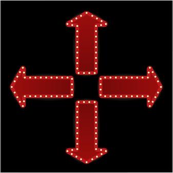 El conjunto de flechas en carteles de estilo retro marcos vacíos, puntos de referencia, símbolo de nube, cinta.