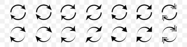 Conjunto de flechas de círculo negro sobre fondo transparente