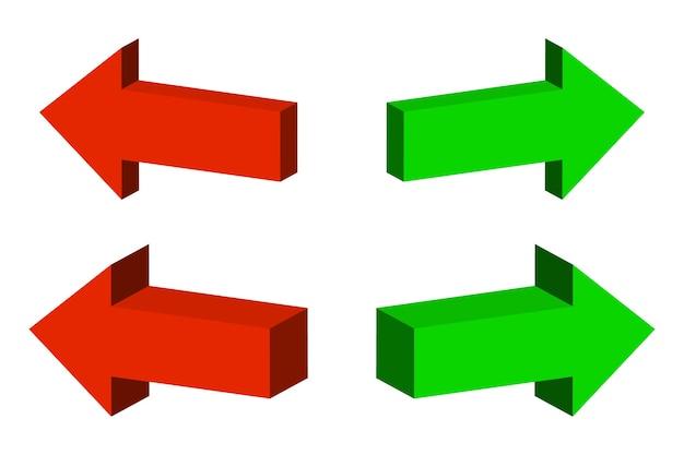 Conjunto de flechas de color 3d.