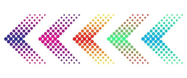 Conjunto de flechas de colores con efecto de semitono