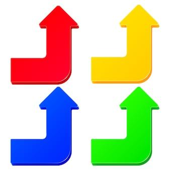 Conjunto de flechas coloridas simples