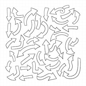 Conjunto de flechas de contorno aislado en blanco