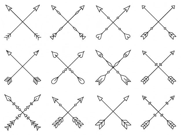 Conjunto de flechas cruzadas