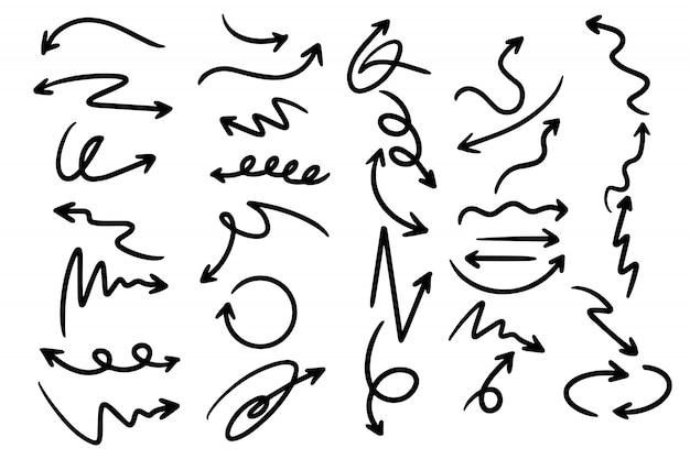 Conjunto de flechas con curvas