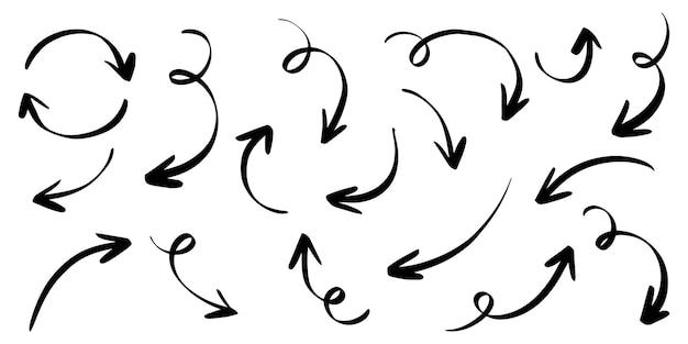 Conjunto de flechas dibujadas a mano aisladas sobre fondo blanco. para el diseño de infografía, banner, web y concepto empresarial.elementos de diseño de doodle de vector.
