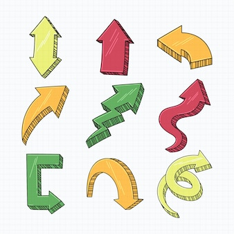 Conjunto de flechas dibujadas a mano realista