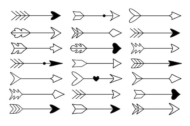 Conjunto de flechas de doodle dibujadas a mano