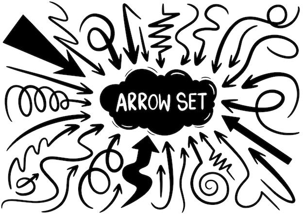 Conjunto de flechas doodle dibujado a mano