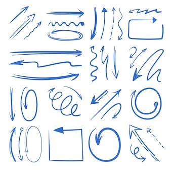Conjunto de flechas de doodle diferentes. imágenes aislar en blanco. doodle de flecha de dirección, ilustración de la flecha del puntero del bosquejo
