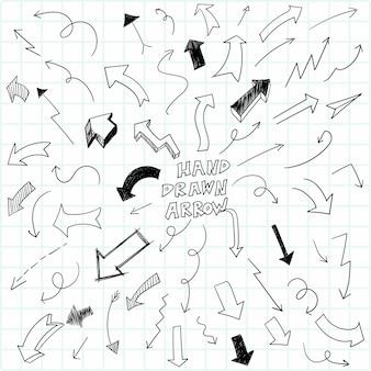 Conjunto de flechas de doodle geométrico dibujado a mano