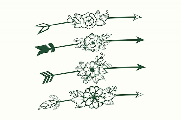 Conjunto de flechas con elemento bohemio flor