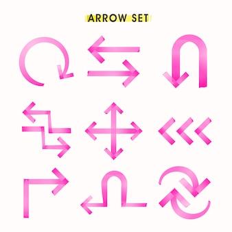 Conjunto de flechas de estilo de cinta moderna aislado sobre fondo blanco