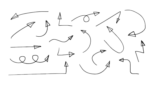 Conjunto de flechas flechas negras vectoriales dibujadas a mano aisladas sobre fondo blanco