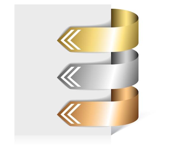 Conjunto de flechas en forma de pegatinas de papel