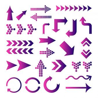 Conjunto de flechas gradiente de color púrpura. ilustración