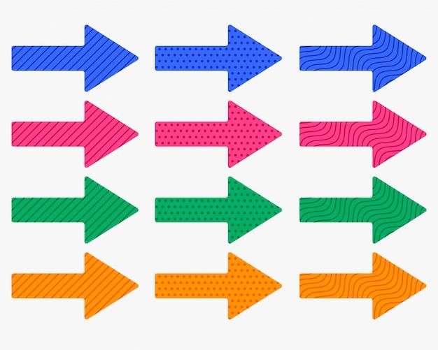 Conjunto de flechas gruesas en diferentes colores y patrones.
