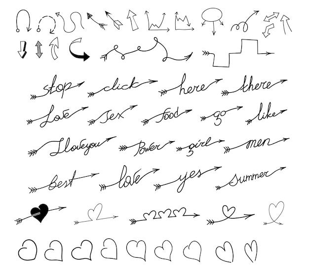 Conjunto de flechas con inscripciones, texto y corazones.