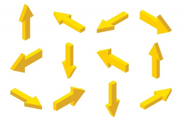 Conjunto de flechas isométricas aislado sobre fondo blanco.