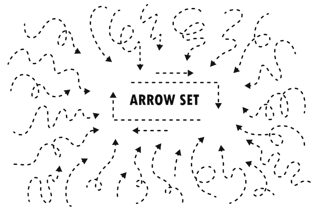 Conjunto de flechas de línea punteada dibujada a mano. aislado sobre fondo blanco