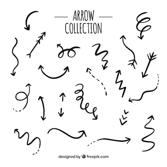 Conjunto de flechas para marcar en estilo hecho a mano