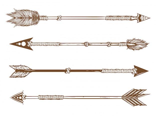 Conjunto de flechas nativas